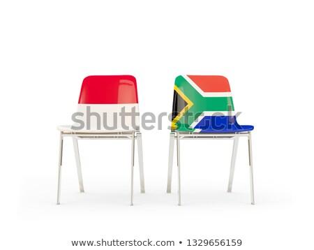 Zwei Stühle Fahnen Indonesien Südafrika isoliert Stock foto © MikhailMishchenko
