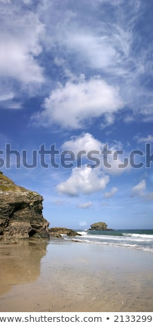 A vertical panoramic view of Gull Rock, Portreath, Cornwall. Stock photo © latent