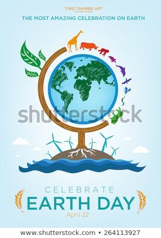 Mãe dia da terra cartão natureza cuidar ícones Foto stock © cienpies