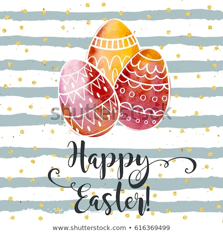 Colored Easter Eggs Vintage Banner Ostern Stock photo © limbi007