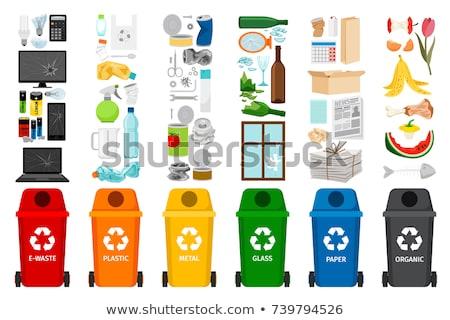 Zdjęcia stock: Wektora · zestaw · recyklingu · śmieci · cartoon · podpisania