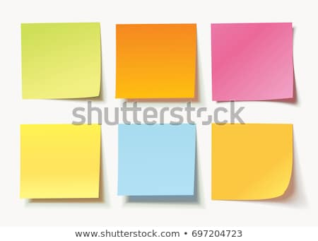 Stockfoto: Collection Of Yellow Colored Sheets Of Note Papers With Curled Corner And Shadow Ready For Your Mes