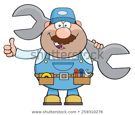 Mechanic Cartoon Character Holding Huge Wrench And Giving A Thumb Up Flat Style. Stock photo © hittoon