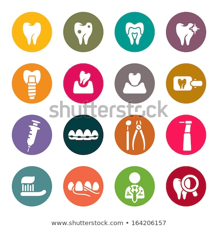 dental · ícones · ilustração · branco · coração · fundo - foto stock © netkov1