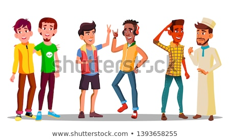 International Characters Buddies Meeting Vector Stock photo © pikepicture