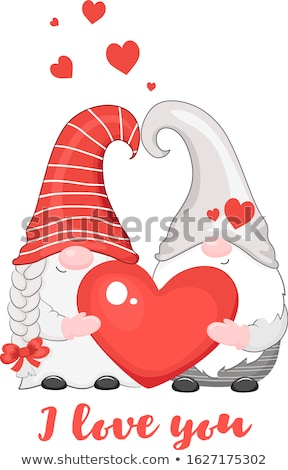 Valentine's day card with gnomes couple in love Stock photo © balasoiu