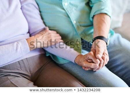 Coppia · affettuoso · bere · sedia · holding · hands · romance - foto d'archivio © pressmaster