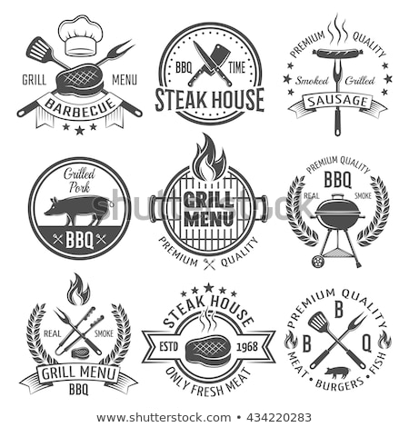 bbq grilling meat and tools vector illustration stock photo © robuart