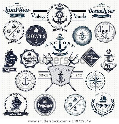 Vintage morski zestaw ikona projektu Zdjęcia stock © netkov1