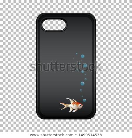 Design graphique téléphone portable cas cute poissons illustration Photo stock © bluering
