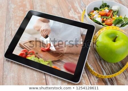 Eğitimi pişirme video sağlıklı beslenme diyet Stok fotoğraf © dolgachov