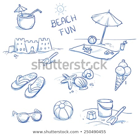 Солнцезащитные очки песок игрушками мяча пляжное полотенце отпуск Сток-фото © dolgachov