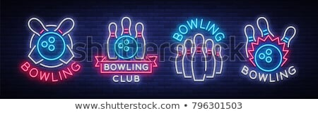 Bowling neon label sport promotie bar Stockfoto © Anna_leni