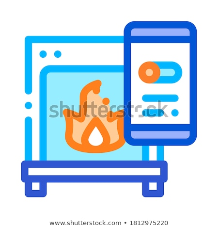Fireplace Smartpone App Heating Equipment Vector Stock photo © pikepicture