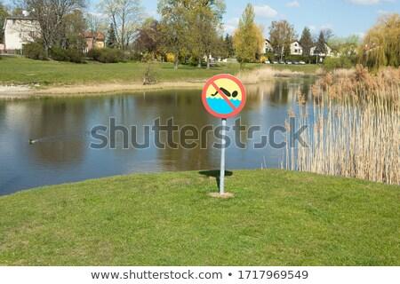 verboden · zwemmen · persoon · water · Rood - stockfoto © fyletto