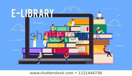 Lezer computer elektronische bibliotheek vector man Stockfoto © robuart