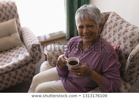 Stok fotoğraf: Görmek · mutlu · kıdemli · kadın · siyah · kahve