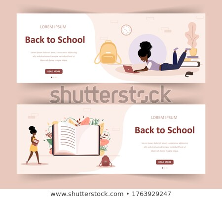 Back to school card of diverse children hand books Stock photo © cienpies
