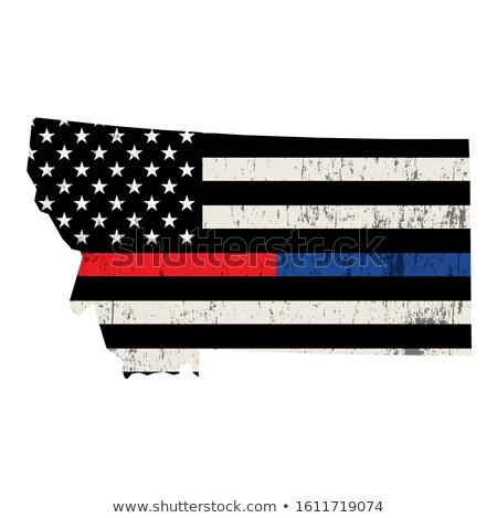Montana strażak wsparcia banderą ilustracja amerykańską flagę Zdjęcia stock © enterlinedesign