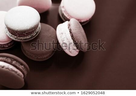Сток-фото: French Macaroons On Milk Chocolate Background Parisian Chic Caf