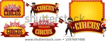 Cinco diseños circo fuente etiqueta plantilla Foto stock © bluering