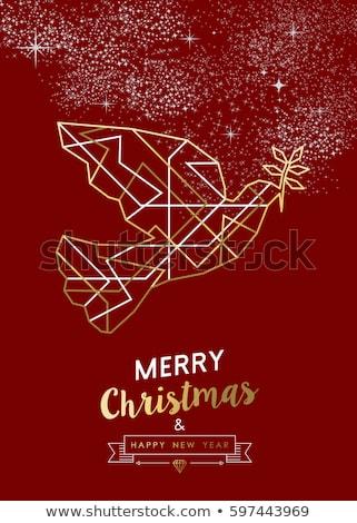 Karácsony új év piros kártya arany art deco Stock fotó © cienpies