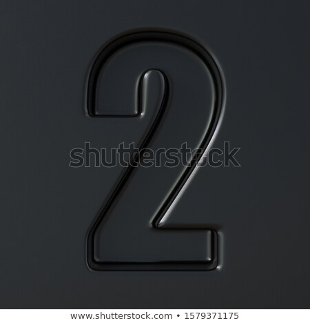 Black engraved font Number 2 TWO 3D Stock photo © djmilic