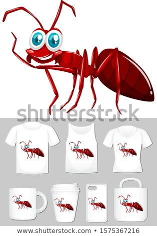 Graphic of red ant on different product templates Stock photo © bluering