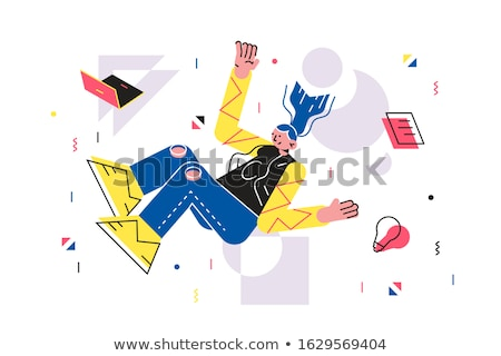 Meisje vallen beneden laptop bestand gloeilamp Stockfoto © jossdiim