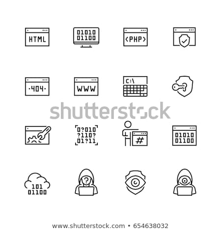 Programmer Coding Laptop Vector Thin Line Icon Stock photo © pikepicture
