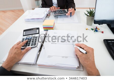Two Businesspeople Calculating Financial Statement Stock photo © AndreyPopov