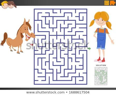 maze game with cartoon girl and pony horse Stock photo © izakowski