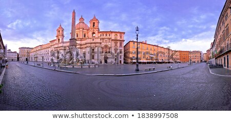 Rome. Empty Piazza Navona square fountains and church view in Ro Stock photo © xbrchx