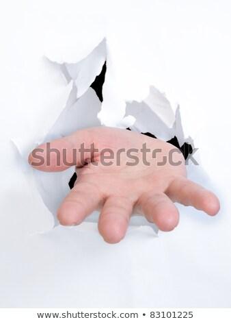 Hand Broken The Paper Making Sign Foto d'archivio © cozyta
