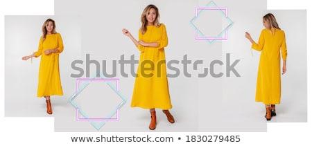 femme · pourpre · laine · écharpe · portrait · blond - photo stock © aladin66