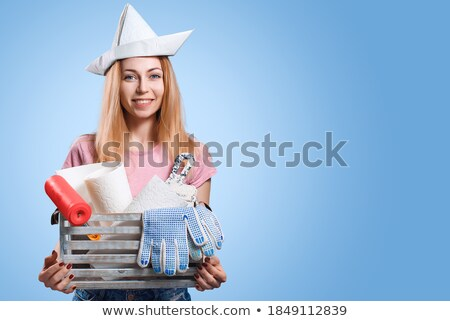 young woman with roller in paper hat Stock photo © Paha_L