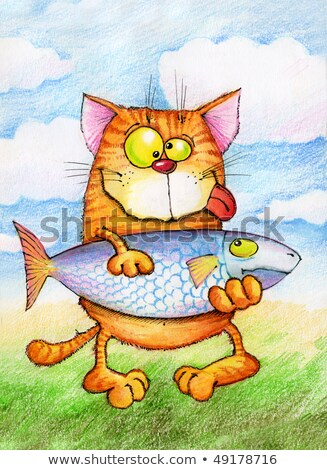 contented cat holding a very big fish Stock photo © ddvs71