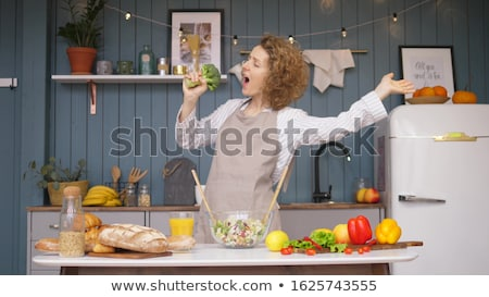 Funny young Chef with broccoli Stock photo © vladacanon