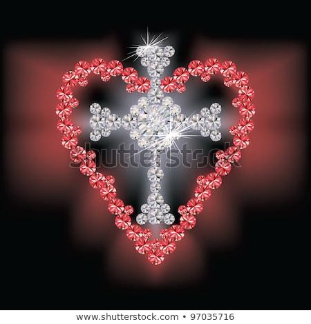 Diamond cross relgious and ruby heart, vector Stock photo © carodi
