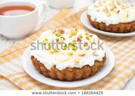Walnut mini tart with mascarpone Stock photo © aladin66