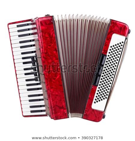 Rood accordeon geïsoleerd sleutel retro geluid Stockfoto © ozaiachin