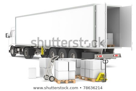 Stock photo: Distribution. Open trailer with pallets, boxes and trucks. Part of a Blue and yellow Warehouse and l
