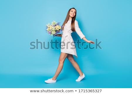 Menina verão azul saia branco mão Foto stock © RuslanOmega