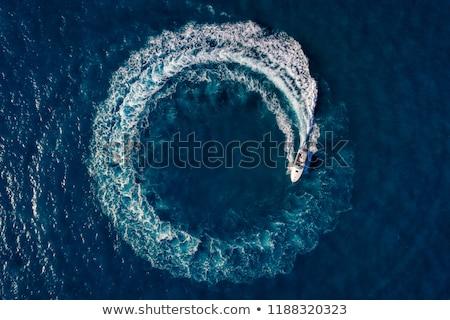 Motorcsónak lebeg lefelé folyó kék csónak Stock fotó © RuslanOmega