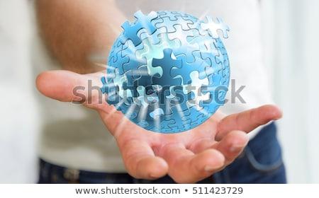 Hand Holding A Teamwork 3d Sphere Stock photo © sdecoret
