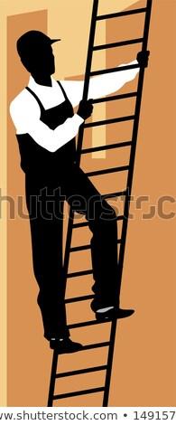 Segédmunkás mászik számítógép boldog narancs doboz Stock fotó © photography33