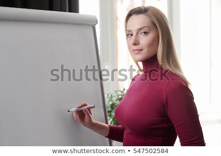 деловая женщина Дать маркер пер азиатских копия пространства Сток-фото © posterize