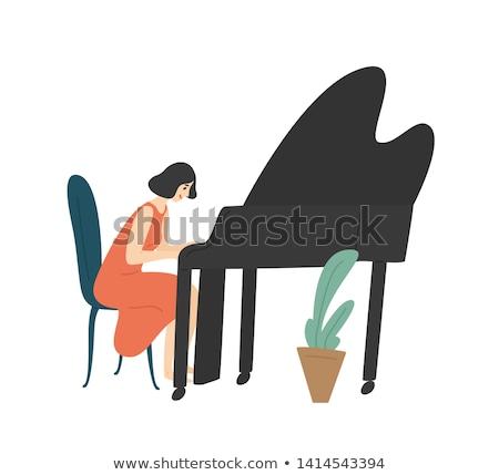 Fiatal lány zongora fotó fiatal boldog lány ül Stock fotó © sumners