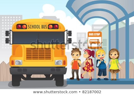 School Boy Is Waiting For School Bus Back To School Vector Ill Stockfoto © Artisticco