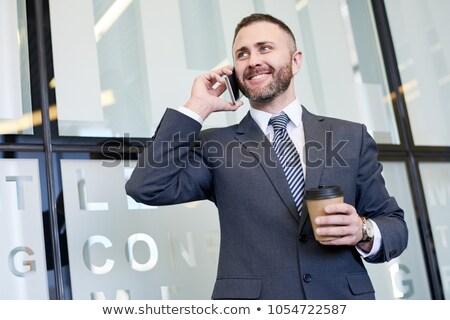Mutlulukla konuşma telefon işadamı genç teknoloji Stok fotoğraf © justinb